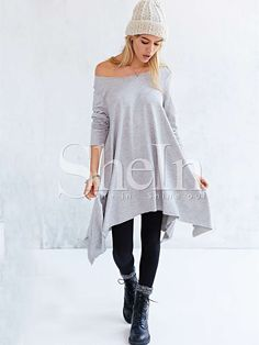 Shop Grey Long Sleeve Asymmetric Loose Dress online. SheIn offers Grey Long Sleeve Asymmetric Loose Dress & more to fit your fashionable needs.