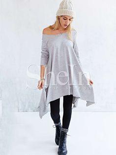 Vestido suelto asimétrico manga larga-gris 14.72