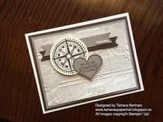 by Tamara: Going Global, Perfectly Artistic dsp (SAB), World Traveler embossing folder, Sweetheart punch - all from Stampin' Up!