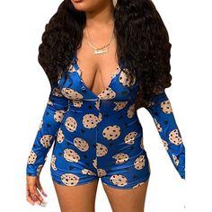 Sexy Pajamas, Onesie Pajamas, Summer Pajamas, Long Sleeve And Shorts, Long Sleeve Romper, Pijamas Onesie, Bodycon Jumpsuit, Short Jumpsuit, Ladies Jumpsuit
