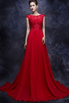 CLF138-1 red lace evening gowns with a line cut