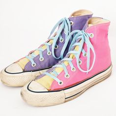 80s Converse Multicolor Pastel High Tops shoes ~ Pink Purple Yellow ~ These were in Spiegel Catalog