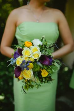 green, yellow, purple, blue bridesmaid bouquet, green bridemaids dress // Events by Satra // Stanford Floral Design // Phoebe Joy Photography