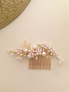 Delicate Bridal hair comb fascinator crystals gold by amuandpri, $68.00