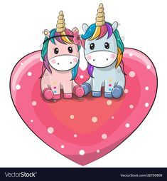 Two Cute Cartoon Unicorns Are Sitting On A Heart Download Free Preview Or High