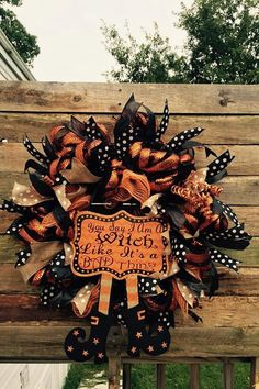 Witch Wreath- Fall Decor- Halloween Wreath- Fall Wreath-Black And Orange Wreath- Witch Quote- Witch Legs