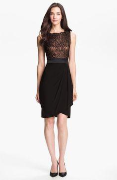 Suzi Chin Lace Bodice Jersey Dress