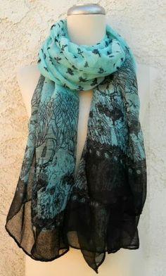 at deloom // forest brid blue black scarf