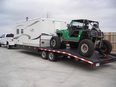 43 Ideas For Jeep Campers Trailer Toy Hauler Toy Hauler Trailers, Toy Hauler Camper, Car Trailer, Truck Camper, Camper Trailers, Trailer Deck, Camper Van, Food Trucks, Offroad