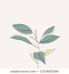 Plant leaves continuous line drawing. Line Art Flowers, Flower Art, Simple Line Drawings, Easy Drawings, Leaf Drawing, Drawing Art, Continuous Line Drawing, Tattoo Graphic, Line Illustration