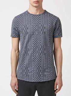 Denim Blue Jacquard Geo Print T-Shirt