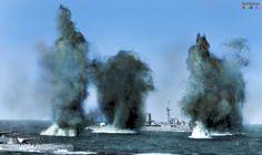 Royal Navy battleships Hood (left) and Valiant under the retaliatory fire from French battleship Dunkerque or Provence near Mers-el-Kebir, then French Algeria. Naval History, Military History, Hms Prince Of Wales, Hms Ark Royal, Hms Hood, Military Diorama, Royal Navy, Uk Navy, Navy Ships