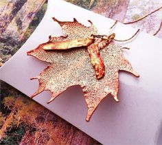 Real Leaf Jewelry, Sugar Maple leaf and seed pendant necklace, Rose gold