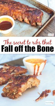 What's the secret to fall off the bone ribs? You want to make sure you choose the right cut of pork, and you want to use a spice rub that adds flavor while it tenderizes. And when it comes to cooking them, slow and low is best! This recipe makes the most Grilling Recipes, Pork Recipes, Cooking Recipes, Recipies, Smoker Recipes, Quick Recipes, Cooking Tips, Salsa Barbacoa, Pizza
