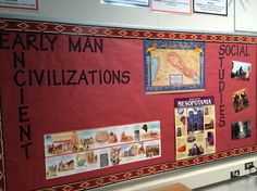 6th grade social studies board. The backdrop and wording stays the same all year. The only things that change are the posters/pictures. Rotate the posters/pictures out as you change topics.