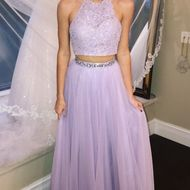 cf5b3b6aad6 2 Pieces Purple Tulle Prom Dresses Halter Neck Lace Women Party ...