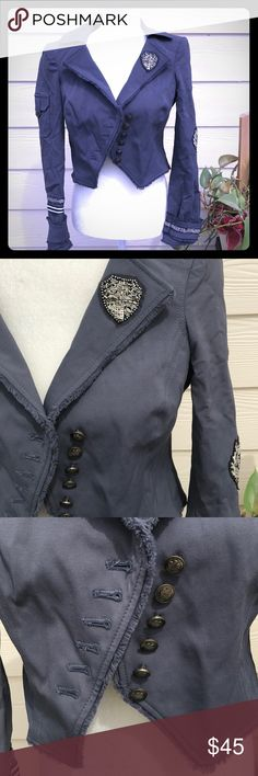 Military cropped BEBE Air Force Jacket Asymmetric Super cute! Rare! Slate blue/Grey in color. If interested let me know if you need measurements there is no size tag but it fits my mannequin quite well. bebe Jackets & Coats