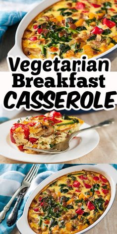 Recipes Breakfast Fitness This Quick and Easy Vegetarian Breakfast Casserole can be prepped the night before and popped in the oven in the morning. It is perfect for Sunday brunch or a holiday breakfast! Vegetarian Breakfast Casserole, Healthy Vegetarian Breakfast, Vegetarian Appetizers, Healthy Dinner Recipes, Vegetarian Recipes, Easy Recipes, Brunch Casserole, Healthy Brunch, Dessert Recipes