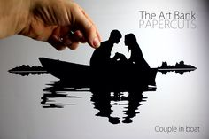 Papercut silhouette, couple in a boat, love on the lake. A great gift for Valentines, an engagement, wedding or anniversary by TheArtBank on Etsy https://www.etsy.com/listing/210122293/papercut-silhouette-couple-in-a-boat
