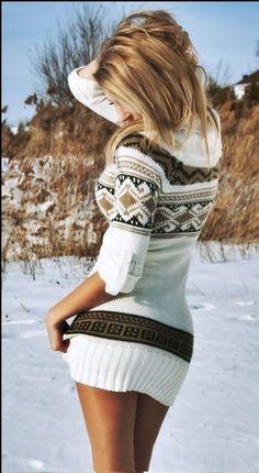 Nordic print sweater dress, loveeeeeeeeeee this. i need a sweater dress like this Cute Sweater Dresses, Cute Sweaters, Winter Sweaters, Sweater Dress With Leggings, Short Sweater Dress, White Sweater Dress, Brown Leggings, Tights, Sweater Dress Outfit