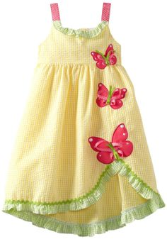 Amazon.com: Rare Editions Girls 2T-4T Yellow Pink Butterfly Applique Seersucker Dress: Clothing