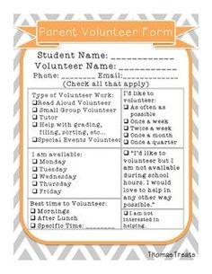 parent volunteer form, working with volunteers Parent Volunteer Form, Classroom Volunteer, School Classroom, Classroom Ideas, Volunteer Ideas, Parent Group, Parent Teacher Conferences, Parent Involvement Activities, Parent Volunteers