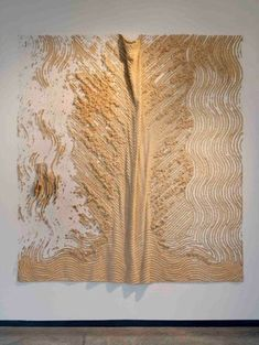"Elana Herzog - Untitled 2, 2001. Cotton chenille bedspread, metal staples, drywall, plywood;  91.5"" x 84"" .  (Read how this is made, Amazing!)"