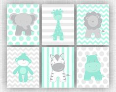 INSTANT DOWNLOAD Mint and Gray Jungle Animals nursery Printable Elephant Giraffe Hippo Lion Monkey Zebra baby room wall art Set of 6, 8x10