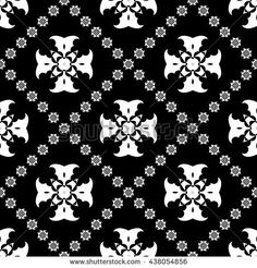 Abstract black and white ornament seamless pattern with diagonal floral ornament…