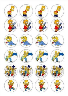 24 icing cake toppers decorations The Simpsons Bart Maggie Lisa Marge Homer in Crafts, Cake Decorating Happy Birthday Parties, Birthday Favors, Baby Birthday, Simpsons Party, Homer Simpson, Bottle Top Crafts, Donut Party, First Birthdays, Cake Toppers