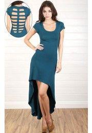 Back Cutout High/Low Shirt Dress TEAL