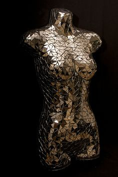 Mirrored mannequin | Mannequin designed and made by Tamara P… | Flickr Mirror Mosaic, Mirror Art, Mosaic Art, Mosaic Glass, Glass Art, Human Sculpture, Sculpture Metal, Mannequin Art, Mural Art