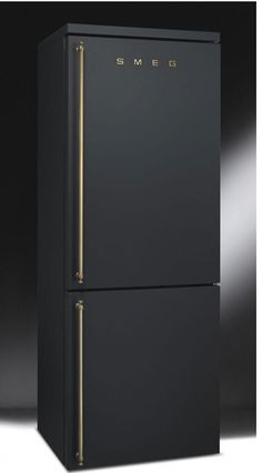 SMEG matte black and brass refridgerator fridge – whoa. Would be gorge… SMEG fridge in matte black brass and brass – whoa. New look Would be wonderful if all the gold crawled back into the kitchen.