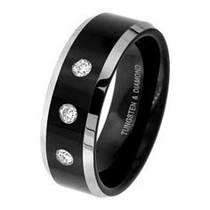 8mm Beveled 2 Two Tone Black Cobalt Free Tungsten Carbide COMFORT-FIT 3 stone 0.17 Carat Diamond Wedding Band Ring for Men (Size 9 to 13) - Size 10 by The World Jewelry Center, http://www.amazon.com/dp/B006ML4PYS/ref=cm_sw_r_pi_dp_s9SKpb1SPKZRP