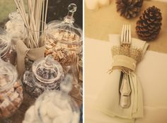 A bit of burlap wrapped around utensils makes for a rustic and natural table setting.