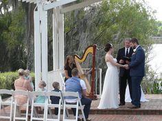Intimate destination wedding at the lakefront wedding gazebo, Cypress Grove, Orlando, FL #destination #wedding #harpist #Orlando #florida #orlandowedding