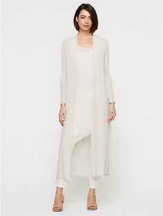 The Icons Maxi Cardigan in Fine Linen Crepe Knit