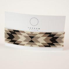 Déstockage -  Bracelet tissé en perles miyuki / Perles argentées en plaquées Argent 925 / TAUPE NOIR ARGENT
