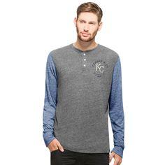 Kansas City Royals '47 Midfield Henley Long Sleeve T-Shirt - Gray/Royal