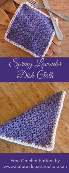 Spring Lavender Dish Cloth | Free Pattern | Crochet Dishcloth