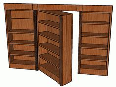 Hidden-Pivot Bookcase Door Here are detailed drawings for a nifty swinging-bookcase hidden door. Hidden Spaces, Hidden Rooms, Bookcase Door, Bookshelves, Bookcase Plans, Build A Bookshelf, Bookshelf Closet, Secret Rooms, Hidden Storage