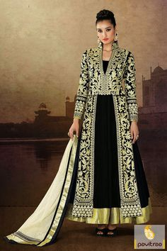 This is made in pure velvet and santoon fabrics. The off white black embroidery Anarkali Salwar Suit is nice with its fine lace patti, resham and patch works. #anarkalisalwarsuits #anarkalisuits #anarkalidresses #anarkalisalwarkameez #bridalanarkali #longanarkalisuits