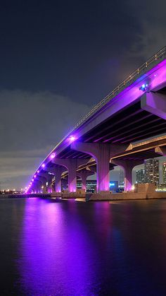 miami, night, bridge, building, ocean