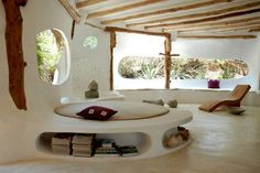 Cob House Interior ~ You can build in seating/ furniture as you construct the dwelling place. Maison Earthship, Earthship Home, Earthship Design, Cob House Interior, Home Interior Design, House Interiors, Luxury Interior, Interior Paint, Bathroom Interior