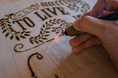 Hand Lettering Co. woodburning process - How to woodburn your art.