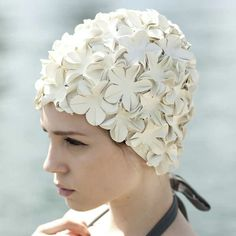 Fancy off white floral swim cap...