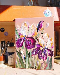Beautiful Paintings Of Flowers, Classic Paintings, Art Drawings Sketches, Art Oil, Oil Paintings, Acrylics, Art Inspo, Diy Gifts, Stripes