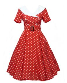 ROBE RÉTRO PIN UP - ROBE ROUGE A POIS BLANC LARGE COL BLANC - T36/38 à 52/54