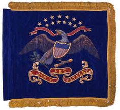 1st Regiment Veteran Cavalry New York Volunteers Standard.  This blue, silk standard generally conforms to the 1861 U.S. Army Regulations. The standard features a painted Arms of the United States with thirteen gold painted stars in two arcs and the regiment's numeric designation painted on a scroll underneath. Army Regulations, Civil War Flags, Us Military, Military History, Union Army, American Civil War, Union Flags, Chest Piece, Civil Wars