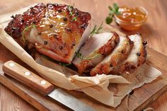 Apricot and Orange Glazed Pork Roast Recipe Main Dishes with loin pork roast, apricot preserves, preserves, honey, ground ginger, allspice, rosemary, freshly ground pepper, salt, clove